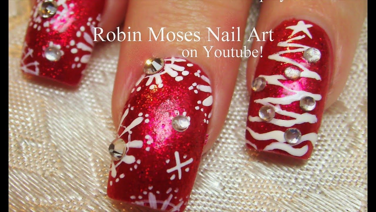 Red Glitter With White Snowflake Nails With Christmas Trees Nail Art