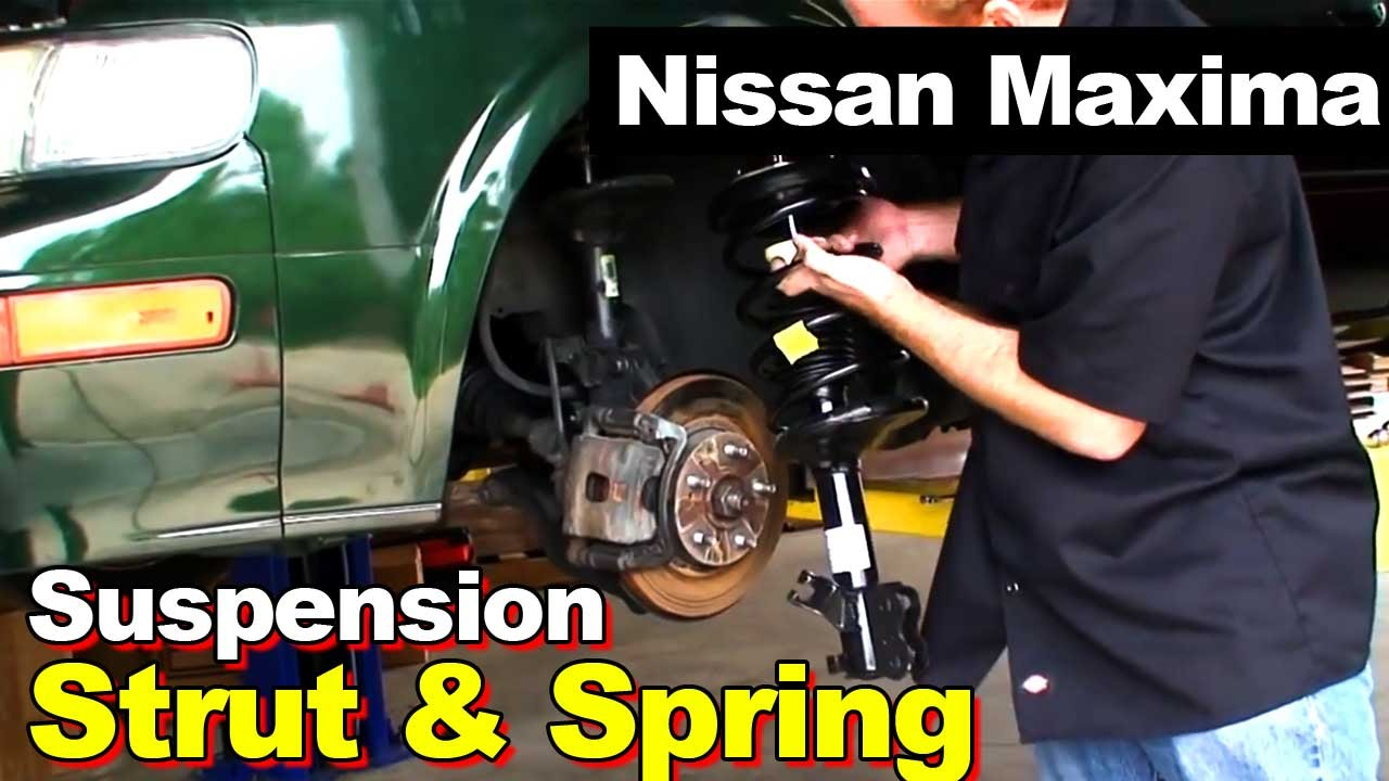 nissan maxima front complete strut with coil springs youtube. Black Bedroom Furniture Sets. Home Design Ideas