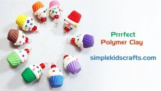How to make polymer clay mini cupcake charms with silicone mold - EP