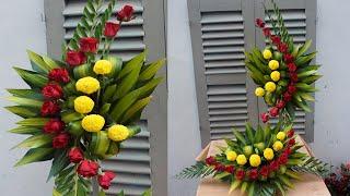 Cắm hoa Phụng Vụ 2 tầng , ý tưởng cắm hoa hồng và hoa cúc đẹp
