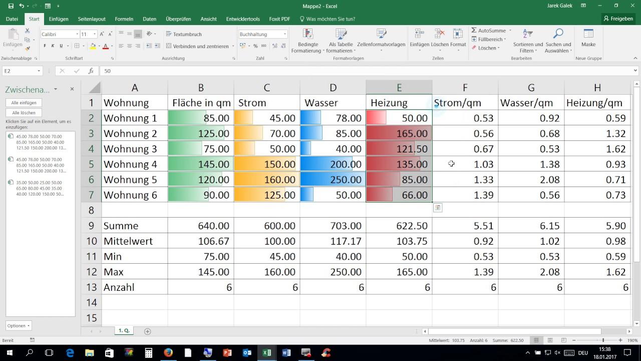 18 01 2017 Excel: Arbeiten mit mehreren Tabellenblättern - YouTube