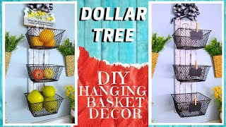 DIY DOLLAR TREE 3 BASKET HANGING SHELF DECOR | How to Make A Farmhouse Rustic Metal & Wood Look Deco
