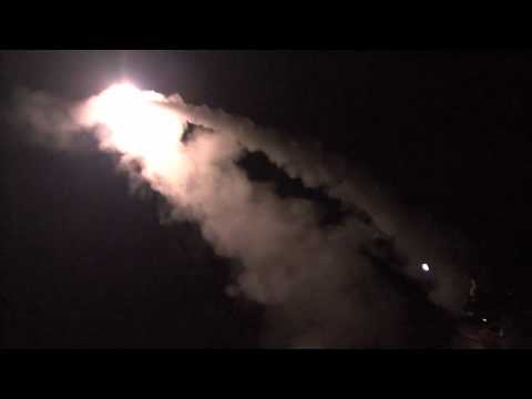 U.S. Navy Destroyer launches Tomahawk cruise missiles at NIGHT