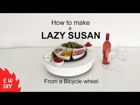 How to make a Lazy Susan using a bicycle wheel.