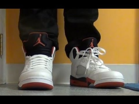 17cb82eaceda07 2013 Air Jordan Fire Red V 5 Sneaker Review On Feet W  Jeans With ...