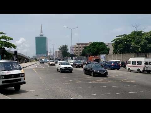 Law School Bus Stop on Victoria Island in Lagos Megacity