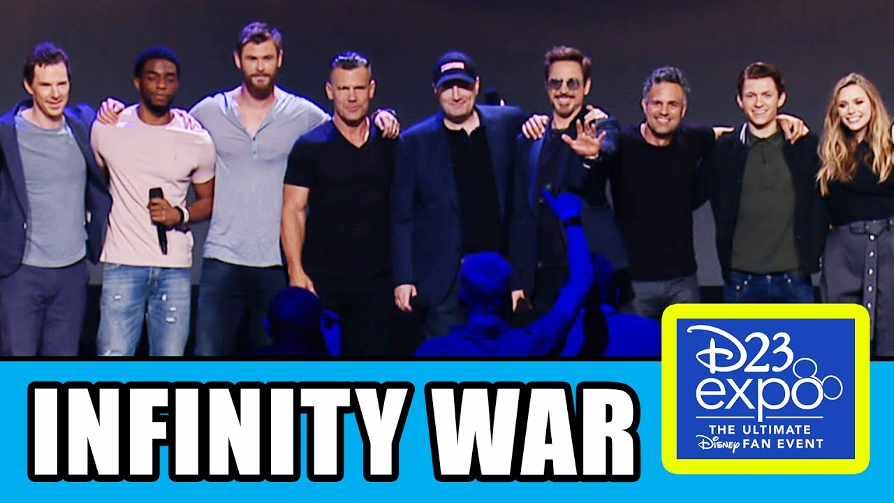 avengers infinity war cast assemble at d23 expo - youtube