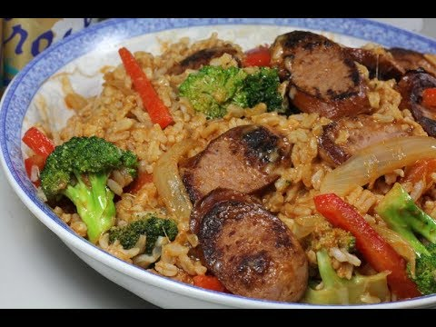 Smoked Sausage Over Rice ( Western Style Cooking )