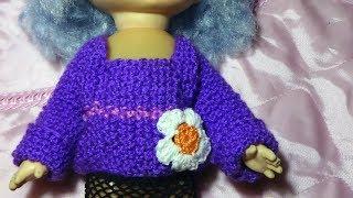 Юным вязальщицам. Кофта на куклу с манжетами. Для начинающих Вязание спицами
