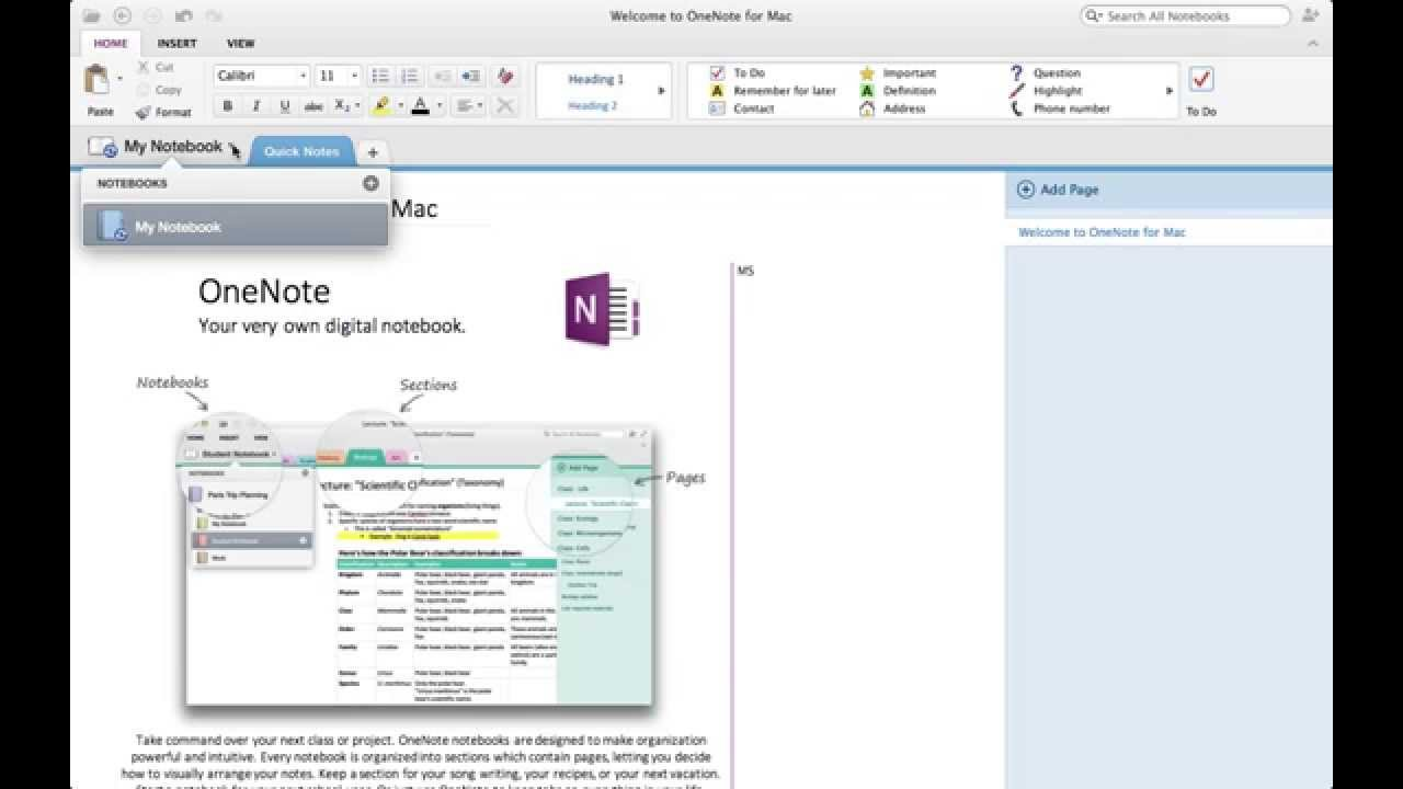 How to create Table of Contents - MS OneNote (Mac) - YouTube