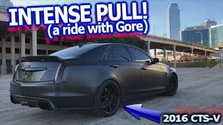 INTENSE PULL! Boosted 2016 Cadillac CTS-V hitting 150+ QUICK! Tires still roasting at 120
