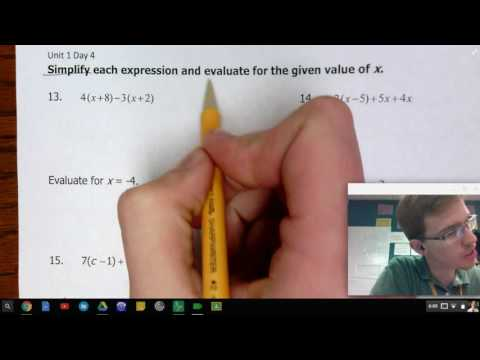 1-4: Simplifying Expressions using Distributive Property