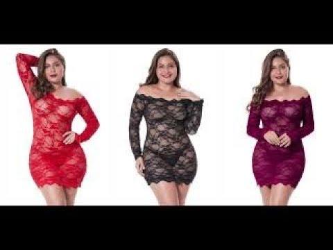 LINGERLOVE Womens Plus Size Sexy Lingerie Chemise Floral Lace Babydoll See Through Bodysuit Lingerie