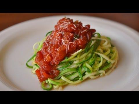 Grain Free Zucchini Noodles with Tomato Sauce Recipe using the Veggetti