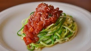 Grain Free Zucchini Noodles With Tomato Sauce Recipe Using The Veggetti