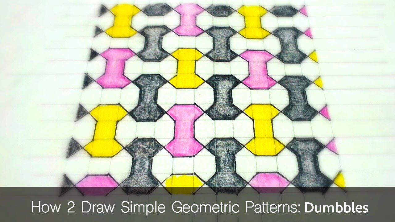 How To Draw Simple Geometric Patterns - Dumbbell Tiling - YouTube