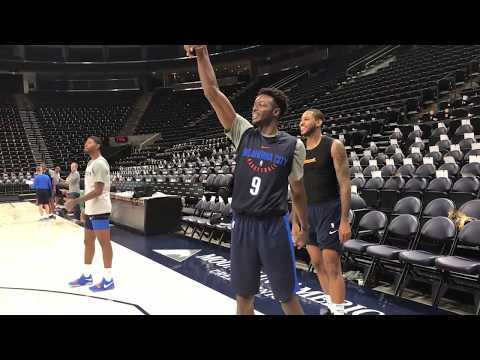 Carmelo Anthony, Paul George and Jerami Grant have a shooting contest during Thunder practice | ESPN
