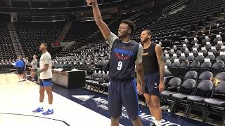 Carmelo Anthony, Paul George and Jerami Grant have a shooting contest during Thunder practice   ESPN
