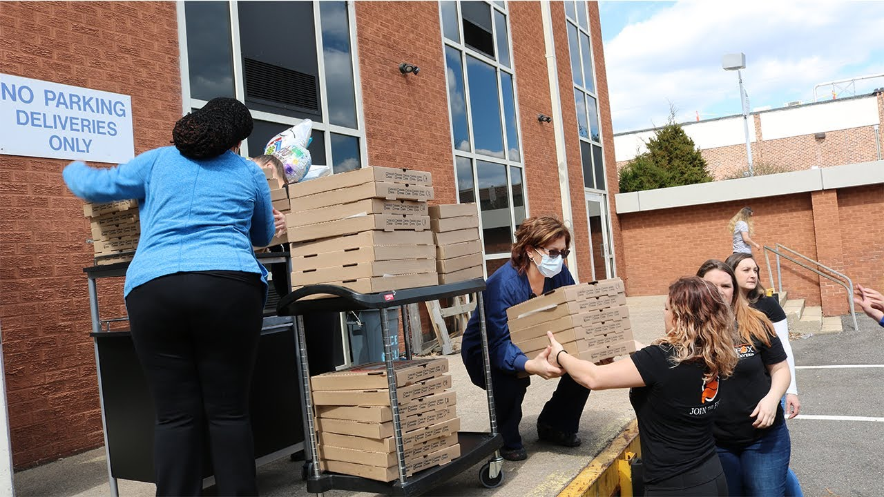 The Laughing Fox Tavern Donates Pizza To Medical Professionals At Jefferson Health in Stratford, NJ.