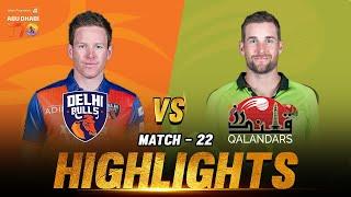 Match 22 I Delhi Bulls vs Qalandars I Day 8 I Aldar Properties Abu Dhabi T10