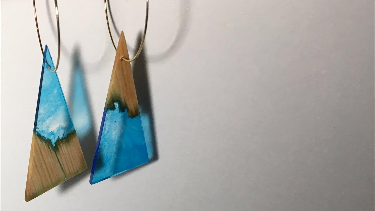 木とレジンのピアス の作り方 How to make wood and epoxy earrings