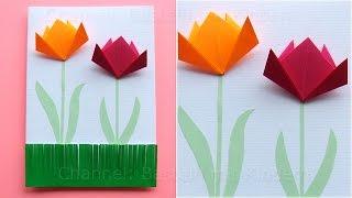 Basteln für Ostern mit Papier: Einfache Osterkarten mit Blumen selber machen - DIY - Basteln Ideen