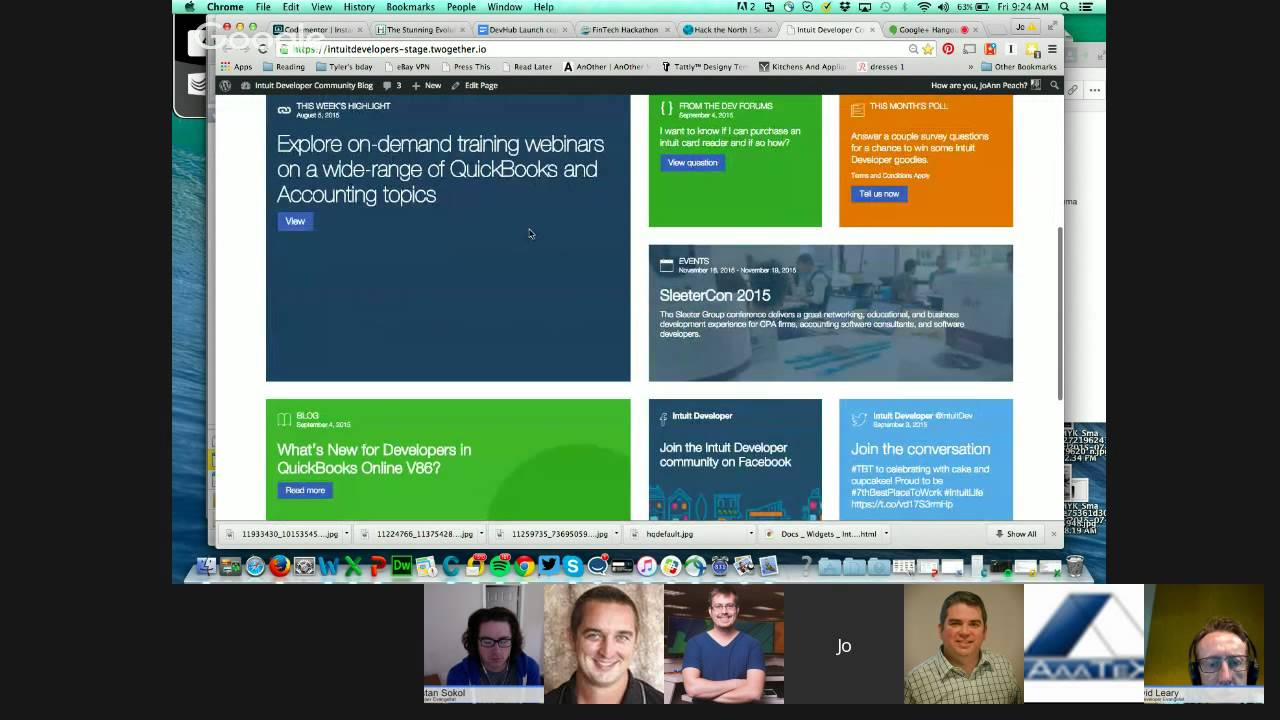 Intuit Developer Friday Morning Hangout (On Air) - QuickBooks Connect  Hackathon Info