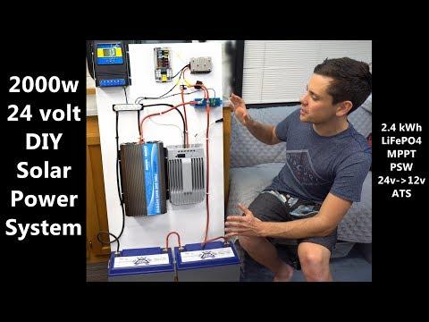 DIY 2000 watt, 24v Solar Power System w/ LiFePO4 Batteries - YouTubeYouTube
