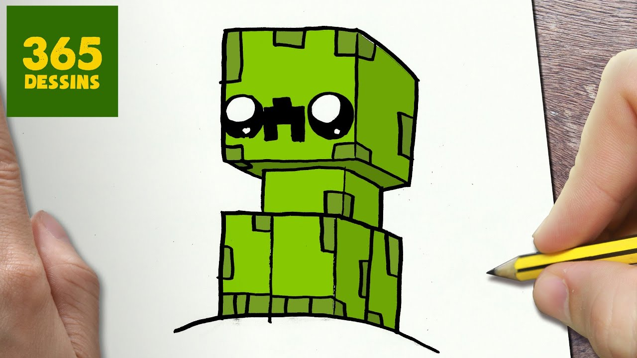 COMMENT DESSINER CREEPER KAWAII ÉTAPE PAR ÉTAPE