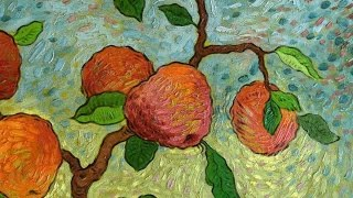 Post impressionist oil painting of apples. Art Demonstration by Mark Briscoe