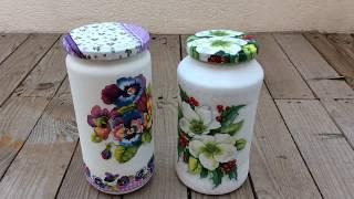 Cómo reciclar frascos de vidrio con decoupage/how to recycle glass jar with decoupage (eng sub)