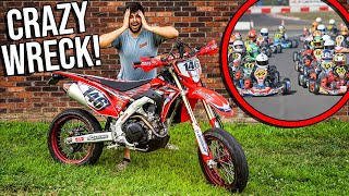 GO KARTING On MOTORCYCLES *BIG WRECK!*