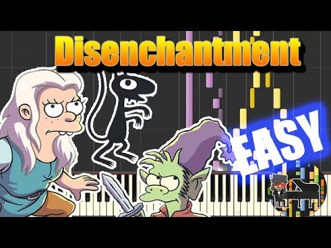 🎵 EASY Main Theme  Disenchantment Piano Tutorial Synthesia HD