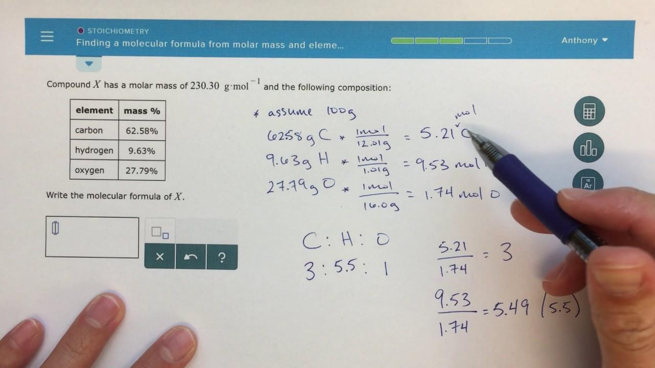aleks - finding a molecular formula from molar mass and elemental analysis