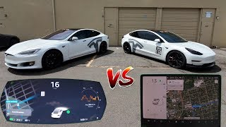 Tesla's New Driving Visualization On Model S vs Model 3. 2019.16.2