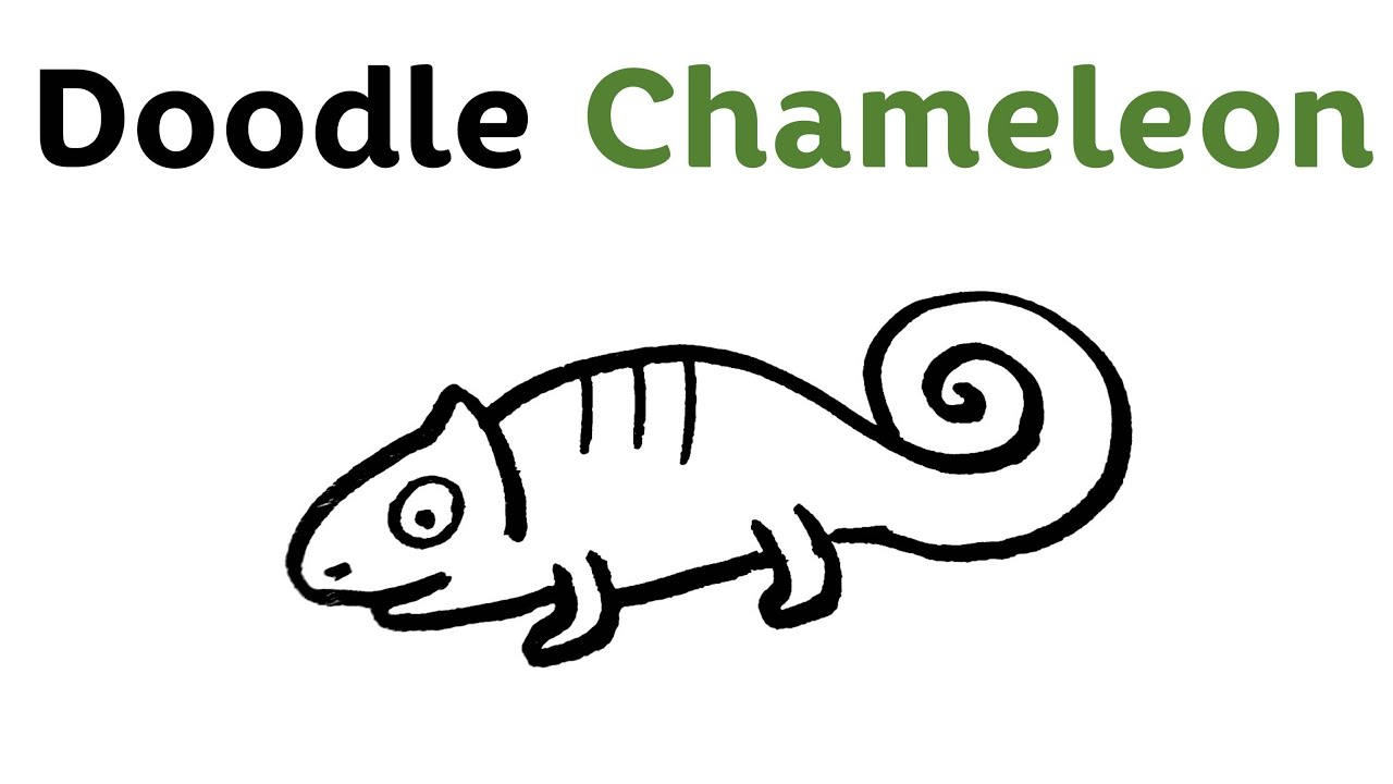 easy doodle chameleon step by step draw youtube