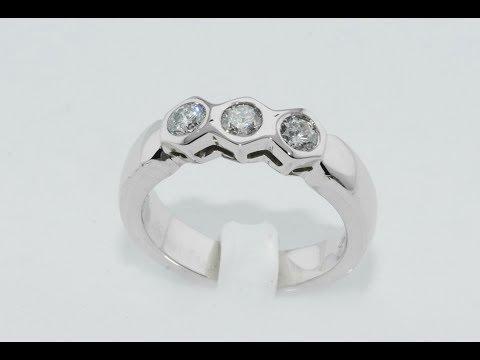 Diamonds trilogy ring white gold 18kt handmade