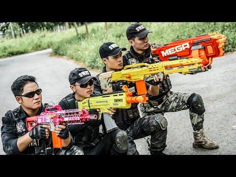 GUGU Nerf War : CID Dragon Warrior Nerf Guns Fight Criminal Group Xicman Mask Intrusion Mission