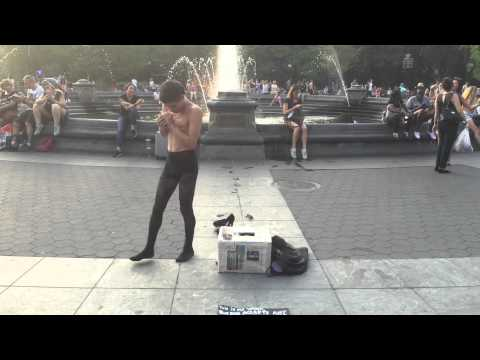Street Performer in Washington Square Park Finishing His Gig!