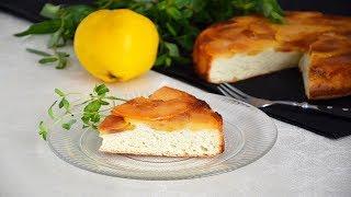 Бисквитный пирог с айвой в карамели