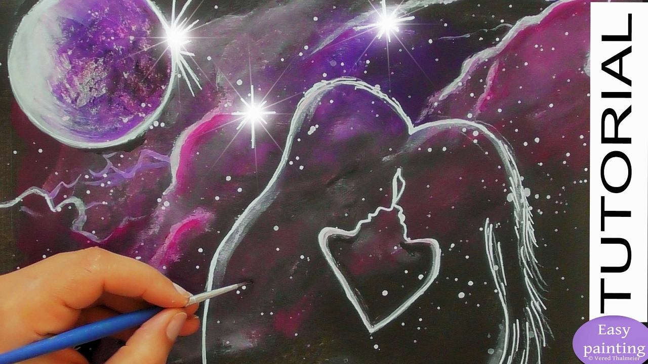 How To Paint COSMIC LOVE Valentines Day Art Painting TUTORIAL For Beginners Easy Vered