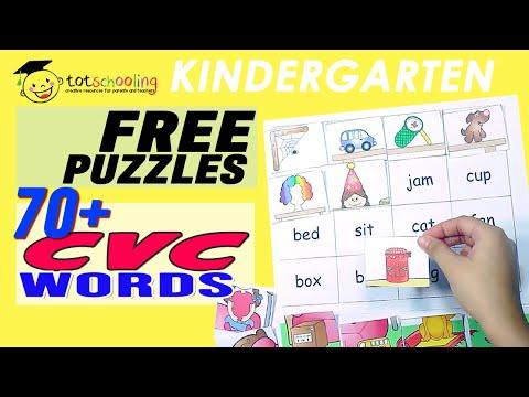CVC WORDS: PUZZLE ACTIVITIES FOR KINDERGARTEN - PRINTABLE LINKS HERE!