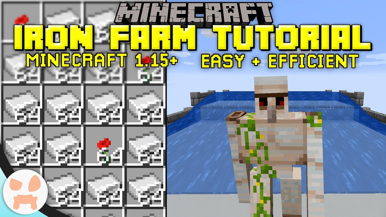 Simple Iron Farm Tutorial Minecraft Java 1 15 Easy Efficient Youtube