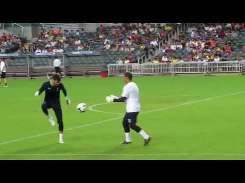 Tottenham Hotspur players Hugo Lloris, Brad Friedel and Heurelho Gomes training in Hong Kong