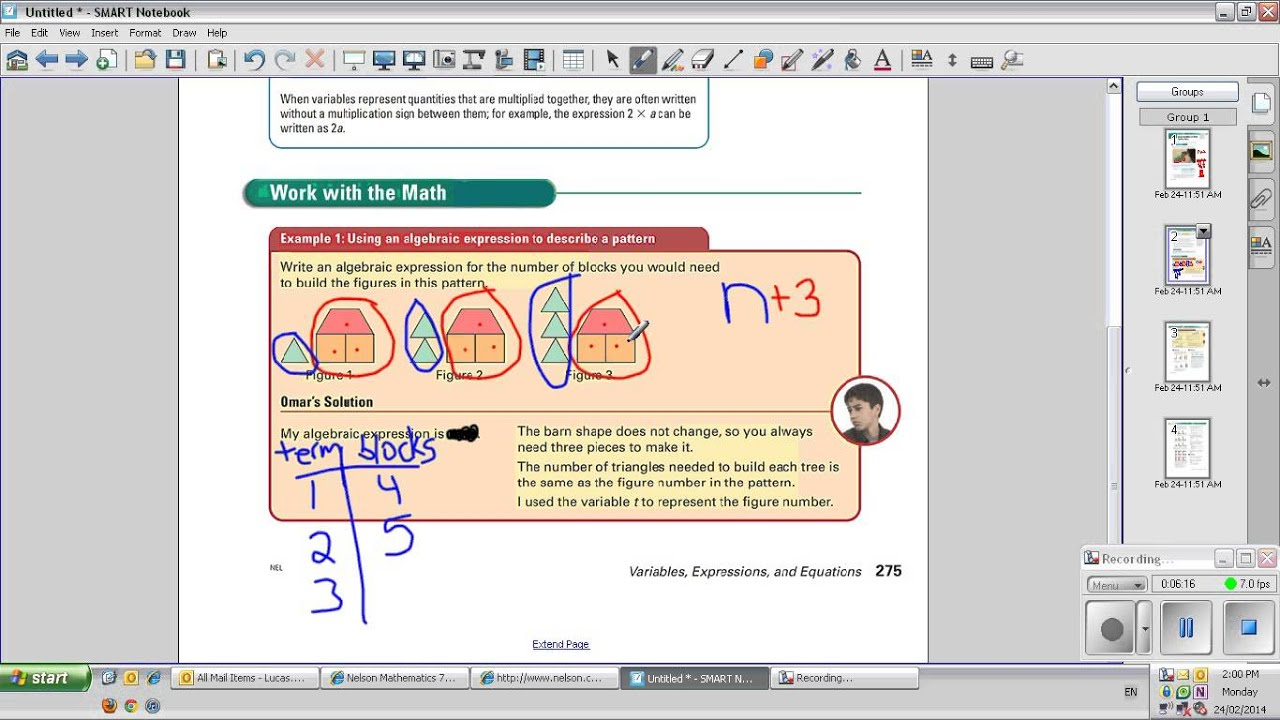 Grade 7 - Lesson 8.2 Using Variables to Write Pattern Rules - YouTube