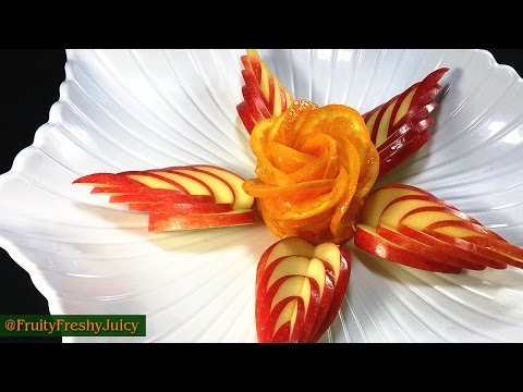 Save How To Make Orange Rose & Apple Leaf - Flower Carving Garnish & Turtorial Snapshots