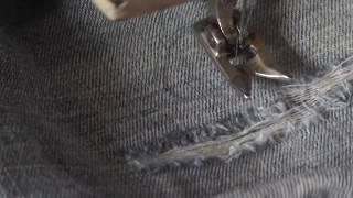 Как застрочить дырку на джинсах