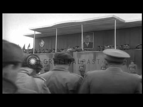 Marshal Tito, President of Socialist Federal Republic of Yugoslavia, reviews troo...HD Stock Footage