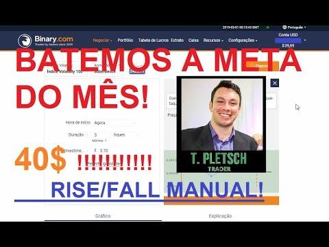 Operando em Conta Real RISE/FALL 37$ para 40$ para inciantes Rumo aos 500$ Binary.com