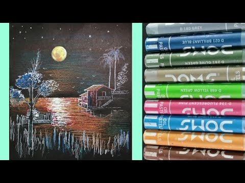 Drawing with oil pastels | painting with oil pastels scenery on black  paper| paint with oil pastels